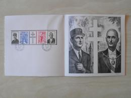 """DOCUMENT DÉPLIANT """" CHARLES DE GAULLE 1890-1970 """" Avec GRAVURE SIGNÉE DÉCARIS + BANDE 1698A CACHET 1971 COLOMBES - Cartas"""