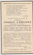 Doodsprentje Angelus Lampaert. °Wingene, +Gent. Echtgen. Van Wonterghem. - Avvisi Di Necrologio
