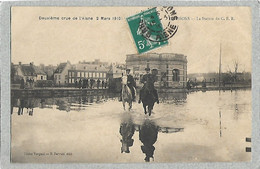 02 - SOISSONS - 2ème Crue De L'Aisne 1910 - La Station Du C.B.R. - Soissons