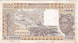 BILLETE DE SENEGAL DE 1000 FRANCS DEL AÑO 1986  (BANK NOTE) - Senegal