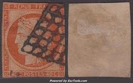 40c Orange De 1850 Défectueux à -20€ ! (Dallay N° 5, Cote 600€) - 1849-1850 Ceres