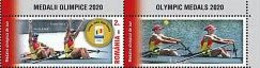 ROMANIA 2021 Olympic Games Tokyo 2020- Olympic Medals - Rowing  , Fencing,  Set 4 Stamps  With Labels MNH** - Eté 2020 : Tokyo