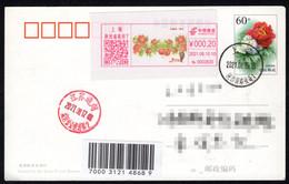 China Shanghai Postage Machine Meter On Postcard: Pomegranate Family - Briefe U. Dokumente