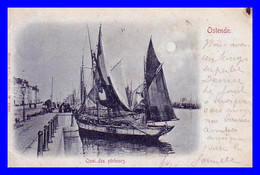 Ostende Quai Des Pêcheurs Circulée En 1900 !!! - Oostende