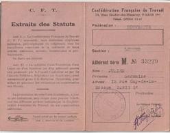Carte D'Adhérent à La Confédération Française Du Travail Textiles Nouveautés  En 1938  Rue Guy De La Brosse 75 - Visitenkarten