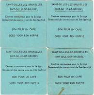 Lot. Bruxelles/Saint-Gilles. 4x BON POUR UN CAFE. Centres Communaux Pour Le 3e âge. - Unclassified