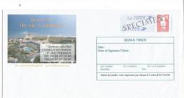 PAP BRIAT ROUGE ENVELOPPE SPECIMEN REPIQUAGE HOTEL ILE DE LUMIERE OLERON BON A TIRER - Prêts-à-poster:Stamped On Demand & Semi-official Overprinting (1995-...)