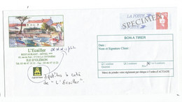 PAP BRIAT ROUGE ENVELOPPE SPECIMEN REPIQUAGE HOTEL L'EDAILLER OLERON BON A TIRER - Prêts-à-poster:Stamped On Demand & Semi-official Overprinting (1995-...)
