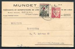 1934 Portugal Mundet Business Postcard, Seixal - Bruxelles Belgium. 1932 Anti T.B. Charity Seal - Lettere
