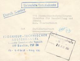 DDR Brief Dienst VD  Durch Kurier Ingenieur Technischer Aussenhandel DDR Berlin PSF 36 - NVA Verschlussache - Dienstpost
