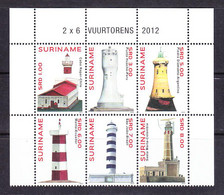 EX-PR-21-08 SURINAME. LIGHTHOUSES. 2012. MICHEL 2608-2613 = 18.0 EURO. MNH**. STARTING PRICE APPROXIMATELY FACE VALUE. - Surinam