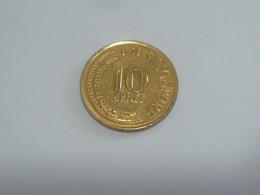 RARE !! Singapore Brunei 1971 Sea Horse 10 Cents Gold Tone Used Coin (SC-98) - Singapore