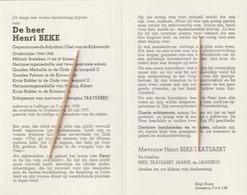 Rijkswachter, Henri Beke, Leffinge, Oostende, Tratsaert, Matres, Janssens, Oudstrijder 1940-45 - Images Religieuses