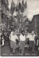 CATANIA-FESTA DI S.AGATA-SFILANO I CEREI-CARTOLINA VERA FOTOGRAFIA- VIAGGIATA NEL 1956 - Catania