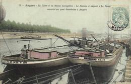 """Angers La Loire Et Le Maine Navigables Le Bateau à Vapeur """" La France"""" Amarré Au Quai Gambetta à Angers Colorisée RV - Angers"""