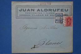 #2  ESPAGNE BELLE LETTRE 1930 POUR BLANES   +PUB + AFFRANCH. INTERESSANT - Lettres & Documents