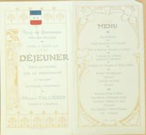 Menu DUNKERQUE Hôtel Des POMPIERS 18 Juillet 1908-President FALLIERES - Menus