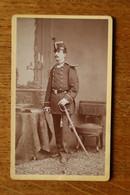 Cdv Photographie Militaire Infanterie Officier  Shako Et Hausse Col   Par Albert Marseille - Guerre, Militaire