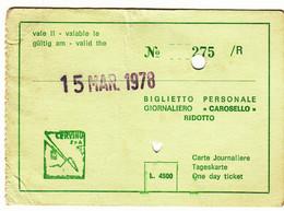 SKIPASS BIGLIETTO GIORNALIERO RIDOTTO CERVINIA PISTA CAROSELLO 1978 - Toegangskaarten