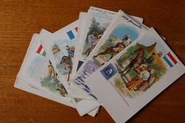 Lot De 24 Cartes Postales Anciennes  La POSTE  Des Différents Pays Avec Représentation Des Timbres - Timbres (représentations)