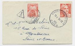 GANDON 12FR ORANGE SEUL MIGNONNETTE CHARENTON DU CHER 24.12.1951 POUR MONTEREAU TAXE 10FR - 1945-54 Marianne Of Gandon