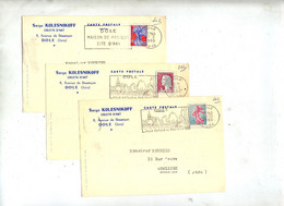 3 Carte Flamme Dole Jura Ville Pasteur Entete Objet Kolesnikoff - Maschinenstempel (Werbestempel)