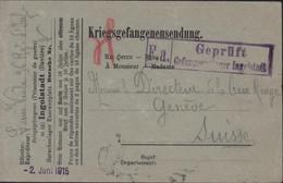Guerre 14 Kriegsgefangenensendung Prisonnier Français Ingolstadt Bavière Censure F.a. Geprüft Gefangenenlager Ingolstadt - Lettres & Documents