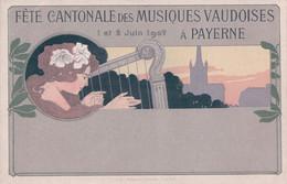 Payerne VD, Fête Cantonale De Musique 1907, Harpe Et Jeune Fille (1.6.1907) - VD Vaud