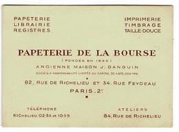 CARTE VSITE: Papeterie De La Bourse 82 Rue De Richelieu Et 34 Rue Feydeau - PARIS 2 ème . - Visiting Cards