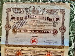 Sté  Des  AUTOMOBILES  BRASIER  -------- Part  Bénéficiaire - Cars