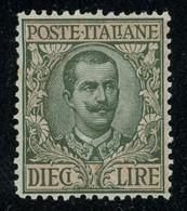 Italy 1910 King Vittorio Emanuele III 10 Lire OTTIMAMENTE CENTRATO MH * Orig. Gum, Perfect Quality, Sass. 91, Cat. €400 - Neufs