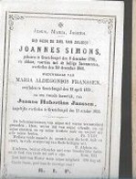 18/08/A/   °  GROOTEBROGEL  1796  + 1868   JOANNES SIMONS - Religion & Esotérisme