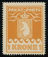 Greenland Parcel Post Stamps 1930 1Kr Yellow Perf. 11 1/4 MNH ** Full Orig. Gum, Fault-free, MiNr. 11A, Cat. €60 - Spoorwegzegels