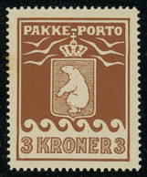 Greenland Parcel Post Stamps 1930 3Kr Brown Perf. 11 1/4 MNH ** Full Orig. Gum, Very Good Condition, MiNr. 12A Cat. €200 - Spoorwegzegels