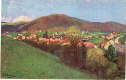 CPSM Peinture Non Signée D'un Village En Montagne - Paintings