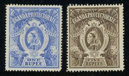 Uganda Protectorate 1898 QV Superb High Values 1r Blue And 5r Brown MH * Part Orig. Gum, Fautl-free, SG 90-91, Cat. £155 - Oeganda (...-1962)