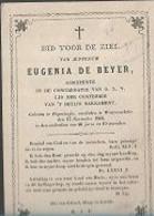18/08/B//   °  POPERINGHE  1820??  + WESTROSEBEKE 1866   EUGENIA  DE BEYER - Godsdienst & Esoterisme