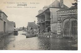 51 - JUVIGNY - Inondations 1910 - Quartier Saint Martin - Voiture En Panne  (animée) - Autres Communes