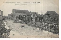 51 - JUVIGNY - Inondations 1910 - Quartier Saint Martin  (CP Animée) - Autres Communes
