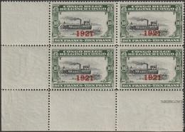 Congo Belge 1921 COB 94. Bloc De 4, Sans Charnières, Filigrane 2 Timbres Inférieurs. Bateau à Roue Sur Fleuve Congo. SUP - 1894-1923 Mols: Nuevos