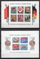 - ALLEMAGNE DDR Blocs N° 2 + 3 Neufs ** MNH - KARL-MARX-JAKR 1953 NON DENTELÉS - Cote 250,00 € - - Blocs