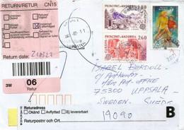 Lettre D'Andorre Adressée En Suède Pendant Confinement Covid-19 , Return To Sender, 2 Photos Recto-verso - Cartas