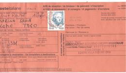 £1000 DONNE AVVISO RICEVIMENTO ESTERO TOGO - 1991-00: Poststempel