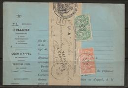 Cognac : Retour à L'envoyeur 1065 Noir Sur Avis Du Tribunal, 1902. - 1877-1920: Periodo Semi Moderno