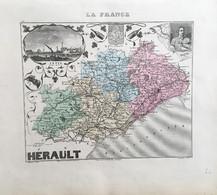 """Gravure 19 ème.  Atlas Migeon  1876 CARTE DU DÉPARTEMENT  """"Hérault 34"""" - - Mapas Geográficas"""