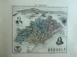 """Gravure 19 ème.  Atlas Migeon  1872 CARTE DU DÉPARTEMENT  """"Hérault 34"""" - - Mapas Geográficas"""