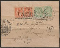 Chateauneuf S/Charente : Retour à L'envoyeur 941 Noir Sur Avis Du Tribunal De Cognac, 1900. - 1877-1920: Periodo Semi Moderno