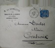 H 1 Lettre/document / Carte Postale /entier / 1888 Chateaulin  Cachet De Cire - 1877-1920: Période Semi Moderne