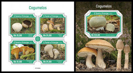 S. TOME & PRINCIPE 2021 - Mushrooms. M/S + S/S. Official Issue [ST210303] - Champignons