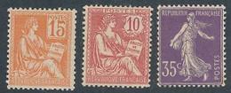 EC-872: FRANCE: Lot Avec  N° 117**-124**-136** Tous Avec Rouille Au Verso - 1900-02 Mouchon